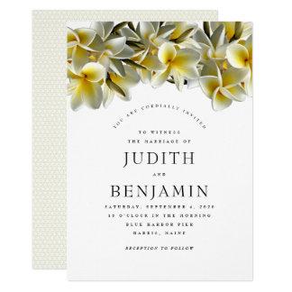 Modern Yellow Plumeria Wedding Invitation