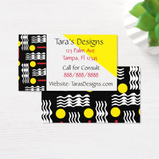 Modern Yellow Red Abstract Textile Business Cards