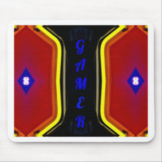 Modern Yellow Red Blue 'Gamer' Artistic Design Mouse Pad