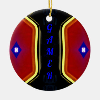 Modern Yellow Red Blue 'Gamer' Artistic Design Round Ceramic Ornament