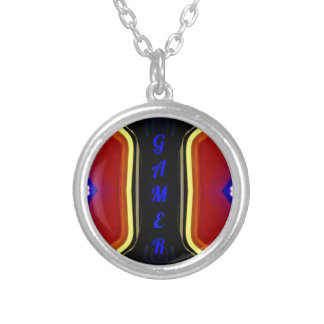 Modern Yellow Red Blue 'Gamer' Artistic Design Silver Plated Necklace