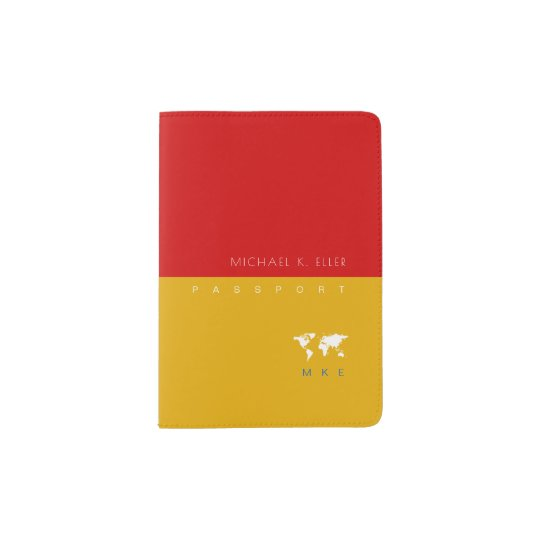 modern yellow/red (with name and initials) travel passport holder