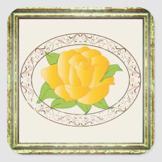 Modern Yellow Rose Square Sticker