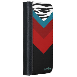 Modern Zebra Print With Red And Teal iPhone 6 Wallet Case