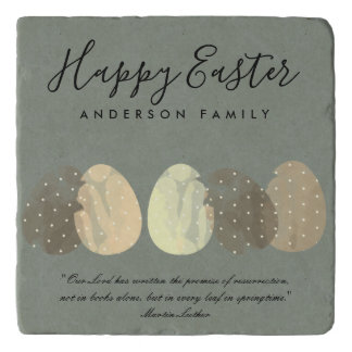 MODERN ZEN GREY WATERCOLOR EASTER EGGS PERSONALIZE TRIVET