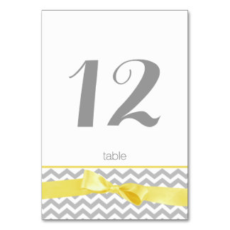 Modern Zigzag and Yellow Bow Table Number Card Table Card