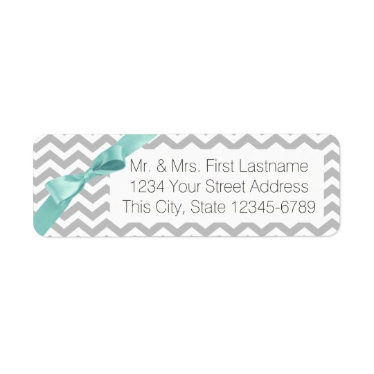 Modern ZigZag Grey and Aqua Return Address Label