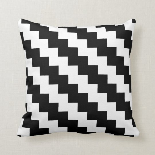 Modern Zigzag in Black and White Throw Pillow