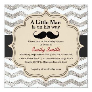 "Modern Zigzag Mustache Little Man Baby Shower 5.25"" Square Invitation Card"
