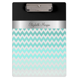 Modern  Zigzag Turquoise Chevron -Personalized Clipboard