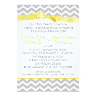 Modern Zigzag Yellow Bow Card