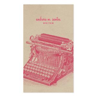 Moderne simple de machine à écrire d'auteur de carte de visite standard