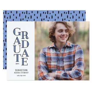 Modernist Blue Graduation Announcement