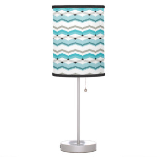 Modernist Chevron in Turquoise Blue Table Lamp