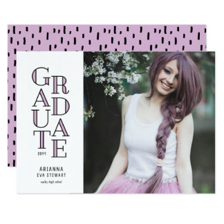 Modernist Dusty Mauve Graduation Announcement