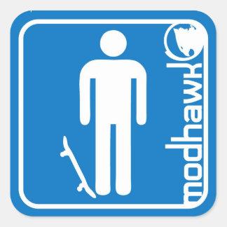 modhawk skater blue square sticker
