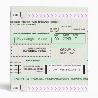 Modify this Airline Boarding Pass 3 Ring Binder