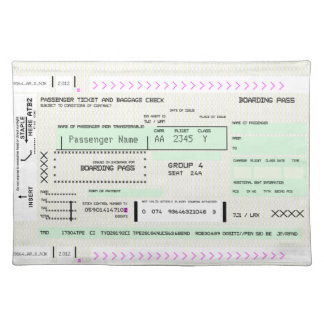 Modify this Airline Boarding Pass Placemat
