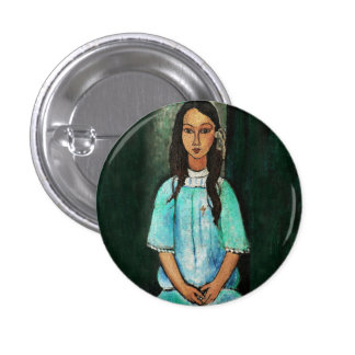 Modigliani Alice Vintage Fine Art Painting 1 Inch Round Button