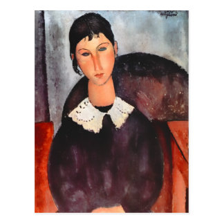 Modigliani Elvira with White Collar Postcard