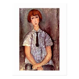 Modigliani portrait Young Girl in Striped Blouse Postcard