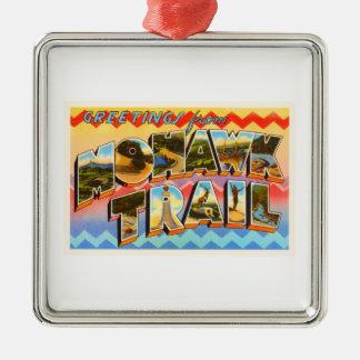 Mohawk Trail Massachusetts MA Old Travel Souvenir Silver-Colored Square Ornament