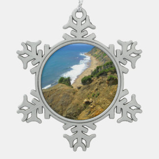 Mohegan Bluffs Corn Cove Pewter Snowflake Ornament