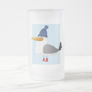 """Moin Moin"" Seagull Frosted Glass Beer Mug"