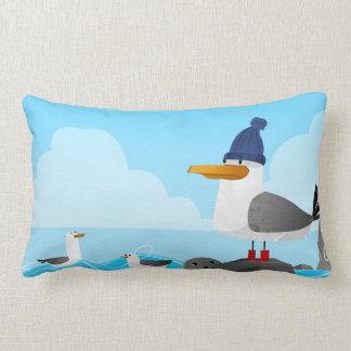 """""""Moin Moin"""" Seagull Lumbar Pillow"""