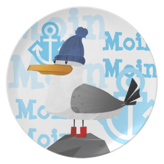 """Moin Moin"" Seagull Plate"