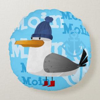 """Moin Moin"" Seagull Round Pillow"