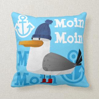"""""""Moin Moin"""" Seagull Throw Pillow"""