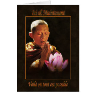 Moine mains jointes et lotus rose greeting card