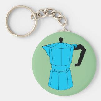 Moka Espresso Coffee Pot Basic Round Button Keychain