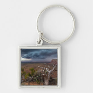 Moki Dugway Thunderstorm - Southern Utah Silver-Colored Square Keychain