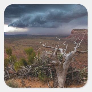 Moki Dugway Thunderstorm - Southern Utah Square Sticker