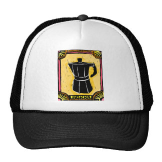 Mokka Espresso Pot Woodcut Trucker Hat