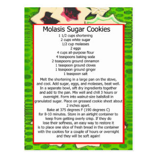 molasis sugar cookies postcard