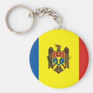 Moldova Basic Round Button Keychain