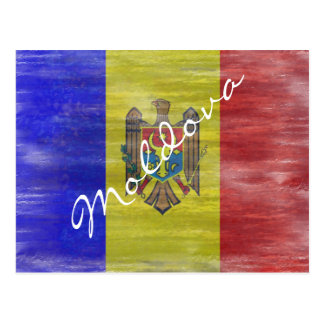 Moldova distressed Moldovan flag Postcard