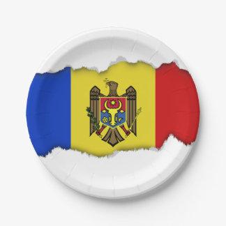 Moldova Flag 7 Inch Paper Plate