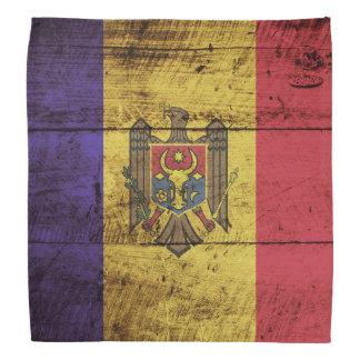 Moldova Flag on Old Wood Grain Do-rag
