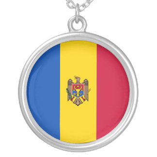 Moldova Flag Silver Plated Necklace