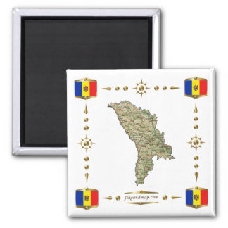 Moldova Map + Flags Magnet