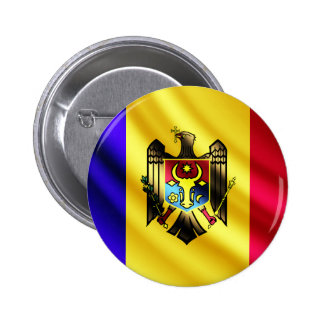 Moldova waving flag pinback button