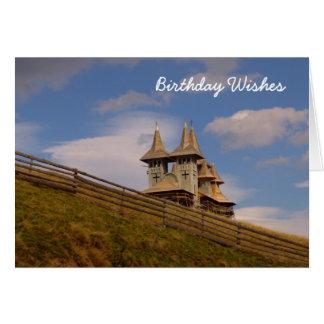 Moldovan scenes, church on the hillside greeting card