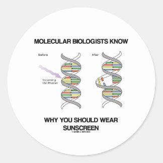 Molecular Biologists Know Why You Wear Sunscreen Round Sticker