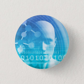 Molecule Background as a Science Abstract Concept 1 Inch Round Button