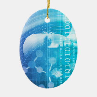 Molecule Background as a Science Abstract Concept Ceramic Oval Ornament