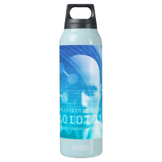 Molecule Background as a Science Abstract Concept Insulated Water Bottle